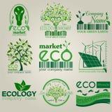 Sistema de ecología, ambiente y logotipos del reciclaje Tem del logotipo del vector Imagen de archivo