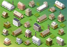 Sistema de edificio isométrico en primavera stock de ilustración