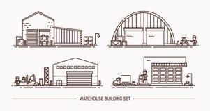 Sistema de edificios del almacén de diversa forma con transporte de carga isométrico Lineart Ilustración del contorno ilustración del vector