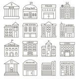 Sistema de edificios del gobierno en la línea estilo stock de ilustración