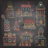 Sistema de edificios dibujados mano en estilo del vintage en fondo oscuro Fotos de archivo libres de regalías