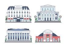 Sistema de edificios en el fondo blanco Fotos de archivo libres de regalías