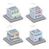 Sistema de edificios isométricos stock de ilustración