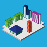 Sistema de edificios isométricos de la ciudad Ilustración del vector Imagenes de archivo