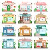 Sistema de edificios planos detallados de la fachada de la ciudad del diseño Iconos de la fachada de los restaurantes y de las ti ilustración del vector