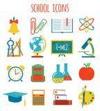 Sistema de educación de los iconos Estilo plano Fotos de archivo