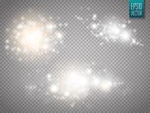 Sistema de efectos luminosos que brillan intensamente de oro aislado sobre fondo transparente libre illustration