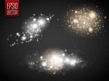 Sistema de efectos luminosos que brillan intensamente de oro sobre fondo transparente libre illustration