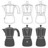 Sistema de ejemplos blancos y negros de los fabricantes de café del géiser Objetos aislados del vector ilustración del vector