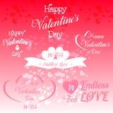 Sistema de ejemplos decorativos del día de tarjetas del día de San Valentín Fotos de archivo