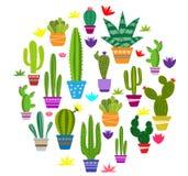 Sistema de ejemplos del cactus lindo libre illustration