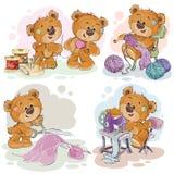 Sistema de ejemplos del clip art de los osos de peluche y de su afición de la criada de la mano Imagen de archivo libre de regalías