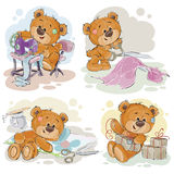 Sistema de ejemplos del clip art del vector de los osos de peluche y de su afición de la criada de la mano Fotografía de archivo