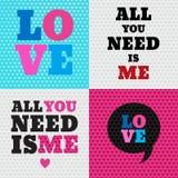 Sistema de 4 ejemplos del día de tarjetas del día de San Valentín y elementos de la tipografía Foto de archivo libre de regalías