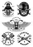 Sistema de 5 ejemplos del motorista del vintage en background_2 blanco Imagen de archivo libre de regalías