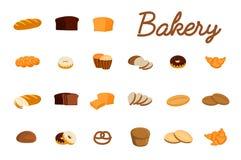 Sistema de ejemplos del vector con los productos de la panadería Pan, bollo dulce, galletas, cruasán, torta, buñuelo Imágenes de archivo libres de regalías