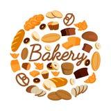 Sistema de ejemplos del vector con los productos de la panadería Pan, bollo dulce, galletas, cruasán, torta, productos del buñuel Imagen de archivo