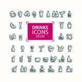 Sistema de ejemplos del vector de iconos de bebidas Imagen de archivo