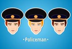 Sistema de ejemplos del vector de un policía policía La cara del hombre icono Icono plano minimalism El hombre estilizado Empleo ilustración del vector