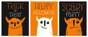 Sistema de 3 ejemplos dibujados mano linda del vector de Halloween Diablos divertidos Diseño infantil del estilo stock de ilustración