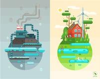 Sistema de ejemplos planos del concepto de diseño stock de ilustración