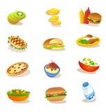 Sistema de ejemplos sanos de la comida Fotos de archivo libres de regalías