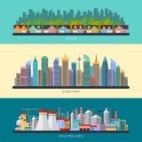 Sistema de ejemplos urbanos del paisaje del diseño plano