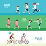 Sistema de ejercicio de la gente del concepto de la salud del diseño de los deportes ilustración del vector