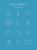 Sistema de electrónico y de técnico en colores azules Fotografía de archivo libre de regalías