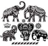 Sistema de elefantes adornados stock de ilustración