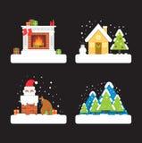 Sistema de elemento de Christmast Imágenes de archivo libres de regalías