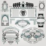 Sistema de elemento del libro del vintage caligráfico y silueta de la decoración de la página Imágenes de archivo libres de regalías
