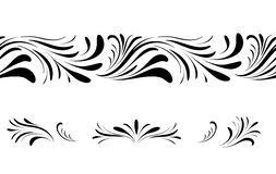 Sistema de elemento inconsútil floral del diseño del modelo del remolino Ornamental prospere la frontera sobre el fondo blanco ilustración del vector