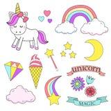 Sistema de elemento mágico del diseño del unicornio Imagen de archivo