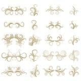 Sistema de elemento rizado abstracto del diseño del oro en el fondo blanco divisores Remolinos Imágenes de archivo libres de regalías