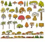 Sistema de elementos aislado dibujado mano del paisaje Bosquejo del garabato Imágenes de archivo libres de regalías