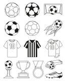 Sistema de elementos blanco y negro del fútbol 14 Foto de archivo