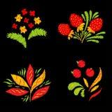 Sistema de elementos brillante del bordado con las flores, las bayas y las hojas Puede ser utilizado para la ropa, la materia tex libre illustration