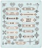 Sistema de elementos caligráficos del diseño Imagen de archivo