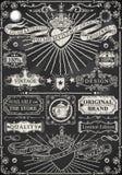 Sistema de elementos caligráficos del diseño en la pizarra Foto de archivo libre de regalías