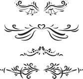 Sistema de elementos caligráficos dibujados mano del diseño Fotografía de archivo