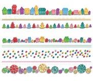 Sistema de elementos coloridos festivos dibujados en fila Fotos de archivo