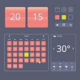 Sistema de elementos, de aparatos y de iconos planos del diseño ilustración del vector