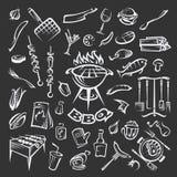 Sistema de elementos de la barbacoa Fotografía de archivo