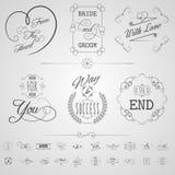Sistema de elementos de la caligrafía Fotos de archivo