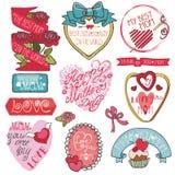 Sistema de elementos de la decoración del día de madres Cintas, etiquetas stock de ilustración