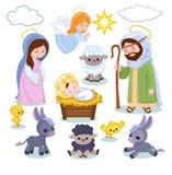 Sistema de elementos de la escena de la Navidad ilustración del vector