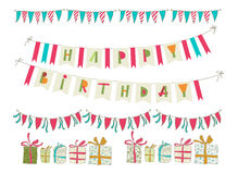Sistema de elementos de la fiesta de cumpleaños del vector EPS 10 Foto de archivo libre de regalías