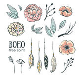 Sistema de elementos de la invitación de la boda del estilo de Boho Fotos de archivo libres de regalías