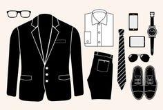 Sistema de elementos de la moda del hombre.  ejemplo Foto de archivo libre de regalías